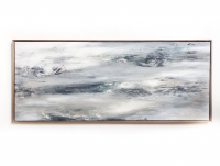 "Kobie Moore Signed ""Stormy Night"" 25x59 Acrylic on Wood with Walnut Frame at PristineAuction.com"