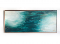 "Kobie Moore Signed ""Expansive"" 25x59 Acrylic on Wood with Walnut Frame at PristineAuction.com"