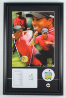 Tiger Woods 15x23 Custom Framed Textured Art Print Display with Original Augusta National Score Card & Lapel Pin at PristineAuction.com
