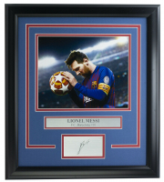 Lionel Messi Barcelona 16x18 Custom Framed Photo Display at PristineAuction.com