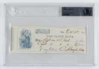Eliphalet Remington Signed Personal Bank Check (BAS Encapsulated) (See Description) at PristineAuction.com