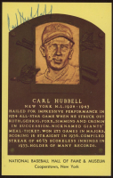 Carl Hubbell Signed Hall of Fame Plaque Postcard (JSA COA) at PristineAuction.com