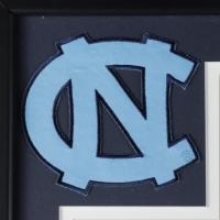 Michael Jordan 33.5x37.5 Custom Framed Jersey Display with North Carolina Jersey Pin (See Description) at PristineAuction.com