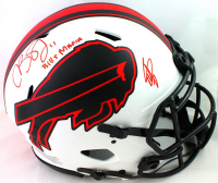 """Stefon Diggs & Cole Beasley Signed Bills Full-Size Authentic On-Field Lunar Eclipse Alternate Speed Helmet Inscribed """"Bills Mafia"""" (Beckett Hologram) at PristineAuction.com"""
