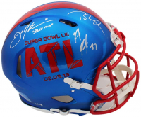 Tom Brady, Julian Edelman, & Rob Gronkowski Signed Patriots Super Bowl LIII Full-Size Authentic On-Field Speed Helmet (Fanatics Hologram) at PristineAuction.com