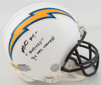"""Natrone Means Signed Chargers Mini Helmet Inscribed """"94 AFC Champs!"""" & """"Business"""" (MAB Hologram) (See Description) at PristineAuction.com"""