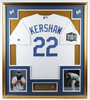 Clayton Kershaw 33x37 Custom Framed Jersey Display With 2020 World Series Pin at PristineAuction.com