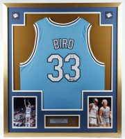 Larry Bird Signed 32x36 Custom Framed Jersey Display with (2) Indiana State Sycamores Pin (PSA COA) at PristineAuction.com