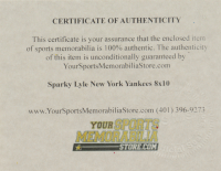 """Sparky Lyle Signed Yankees 8x10 Photo Inscribed """"77 Cy Young"""" (YSMS COA) at PristineAuction.com"""
