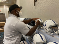 Dwight Freeney & Robert Mathis Signed Colts Full-Size Authentic On-Field Speed Helmet (Radtke COA) at PristineAuction.com