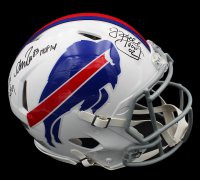 Jim Kelly, Thurman Thomas & Andre Reed Signed Bills Full-Size Authentic On-Field Speed Helmet (Radtke COA) at PristineAuction.com