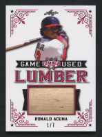 Ronald Acuna Jr. 2021 Leaf Lumber Kings Game Used Lumber Relic Crimson Edition #1/7 at PristineAuction.com