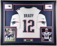 Tom Brady Signed 34.5x42.5 Custom Framed Jersey Display (Beckett LOA & TriStar Hologram) at PristineAuction.com