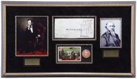 Abraham Lincoln & Edwin Stanton Signed 18x32 Custom Framed Cut Display with Multiple Inscriptions (JSA ALOA) at PristineAuction.com