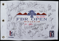 FBR Open TPC Scottsdale Pin Flag Signed by (35) with Luke Donald, Hal Sutton, David Toms, Jon Haas, Jesper Parnevik (Beckett LOA) at PristineAuction.com