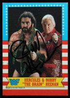 "Bobby Heenan Signed 1987 Topps WWF #9 Hercules & Bobby ""The Brain"" Heenan (JSA COA) at PristineAuction.com"