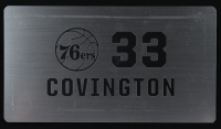 Robert Covington 76ers 2016-17 Player-Issued Silver Locker Room Nameplate (Fanatics Hologram) at PristineAuction.com