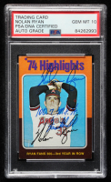"Nolan Ryan Signed 1975 Topps Mini #5 HL / Fans 300 for / 3rd Year in a Row Inscribed ""100.7 M.P.H. Fastball"" (PSA Encapsulated) at PristineAuction.com"