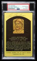 Lou Boudreau Signed Gold Hall of Fame Plaque Postcard (PSA Encapsulated) at PristineAuction.com