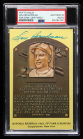 Lou Boudreau Signed Gold Hall of Fame Plaque Postcard (PSA Encapsulated) at PristineAuction.com