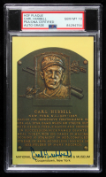 Carl Hubbell Signed Gold Hall of Fame Plaque Postcard (PSA Encapsulated) at PristineAuction.com