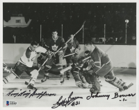 """Johnny Bower, """"Boom Boom"""" Geoffrion & Bobby Bauer Signed 8x10 Photo (Beckett LOA) at PristineAuction.com"""