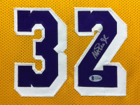 Magic Johnson Signed 34.5x42.5 Custom Framed Jersey (Beckett COA) at PristineAuction.com