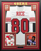 Jerry Rice Signed 34.5x42.5 Custom Framed Jersey Display (Beckett COA) at PristineAuction.com