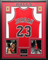 Michael Jordan 34.5x42.5 Custom Framed Jersey at PristineAuction.com