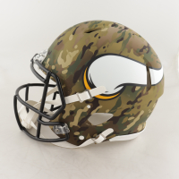 """Randy Moss Signed Vikings Full-Size Authentic On-Field Camo Alternate Speed Helmet Inscribed """"Straight Cash Homie"""" (Beckett COA) at PristineAuction.com"""
