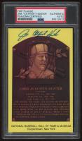 Catfish Hunter Signed Gold Hall of Fame Plaque Postcard (PSA Encapsulated) at PristineAuction.com