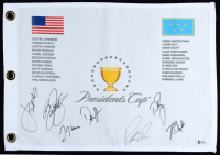 2017 Presidents Cup Golf Pin Flag Signed by (7) with Jordan Spieth, Rickie Fowler, Justin Thomas, Dustin Johnson, Patrick Reed (Beckett LOA) at PristineAuction.com