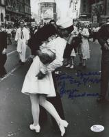 "George Mendonsa Signed ""VJ Day: The Kissing Sailor"" 8x10 Photo Inscribed ""Times Square V. J. Day 8/14/85"" (JSA COA) at PristineAuction.com"