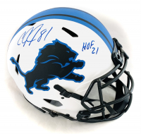"Calvin Johnson Signed Lions Full-Size Authentic On-Field Lunar Eclipse Alternate Speed Helmet Inscribed ""HOF 21"" (JSA COA) at PristineAuction.com"
