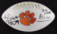 "Tee Higgins & Travis Etienne Signed Clemson Tigers Logo Football Inscribed ""18-19 Champs!"" & ""ALL IN!"" (JSA COA) at PristineAuction.com"