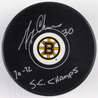 """Gerry Cheevers Signed Bruins Logo Puck Inscribed """"70-72 SC Champs"""" (Schwartz COA) at PristineAuction.com"""