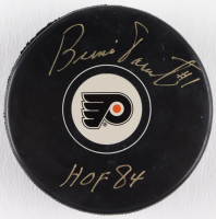 "Bernie Parent Signed Flyers Logo Hockey Puck Inscribed ""HOF 84"" (Schwartz COA & Frozen Pond Hologram) at PristineAuction.com"