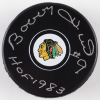 "Bobby Hull Signed Blackhawks Logo Hockey Puck Inscribed ""HOF 1983"" (Schwartz COA) at PristineAuction.com"