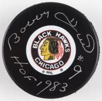 "Bobby Hull Signed Blackhawks Original Six Logo Hockey Puck Inscribed ""HOF 1983"" (Schwartz COA) at PristineAuction.com"