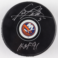 "Denis Potvin Signed Islanders Logo Hockey Puck Inscribed ""HOF 91"" (Schwartz COA) at PristineAuction.com"