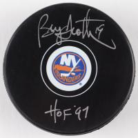 "Bryan Trottier Signed Islanders Logo Hockey Puck Inscribed ""HOF 97"" (Schwartz Sports COA) at PristineAuction.com"