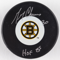 """Gerry Cheevers Signed Bruins Logo Hockey Puck Inscribed """"HOF 85"""" (Schwartz COA) at PristineAuction.com"""