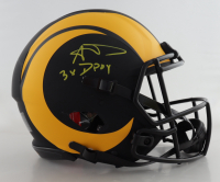 "Aaron Donald Signed Rams Full-Size Authentic On-Field Eclipse Alternate Speed Helmet Inscribed ""3x DPOY"" (Beckett COA) (See Description) at PristineAuction.com"