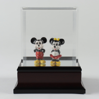 Vintage Walt Disneyland Mickey & Minnie Mouse Souvenir Figure With Wooden Display Base at PristineAuction.com
