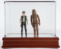 "Set of (2) Original 1977 Hasbro ""Star Wars"" Action Figures with Han Solo & Chewbacca with Display Case at PristineAuction.com"