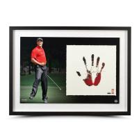 Tiger Woods Signed 20x28 Custom Framed LE Tegata Hand Print Display (UDA COA) at PristineAuction.com
