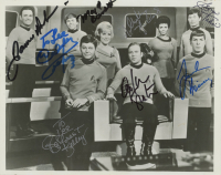 """Star Trek"" 8x10 Photo Cast-Signed by (8) with William Shatner, Leonard Nimoy, George Takei, James Doohan, DeForest Kelley Inscribed ""To Lee"" (JSA ALOA) (See Description) at PristineAuction.com"