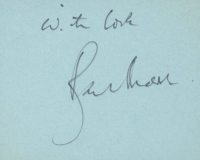"""Roger Moore Signed 3x3 Cut Inscribed """"With Love"""" (JSA COA) at PristineAuction.com"""