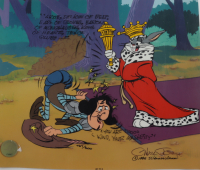 """Chuck Jones Signed LE Sold Out 1995 Looney Tunes """"Sir Loin of Beef"""" 10x12 Serigraph Cel Inscribed """"1995 Warner Bros"""" (Linda Jones COA & Pristine Auction LOA) (See Description) at PristineAuction.com"""