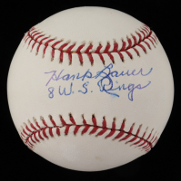 "Hank Bauer Signed OML Baseball Inscribed ""8 W.S. Rings"" (JSA COA) (See Description) at PristineAuction.com"